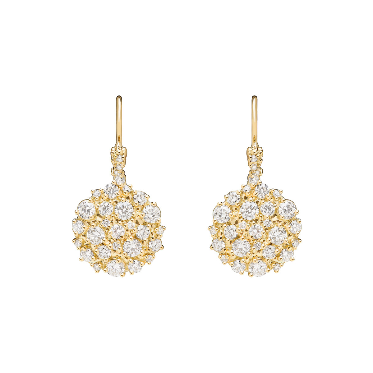 "18k Yellow Gold & Diamond ""Confetti"" Drop Earrings"
