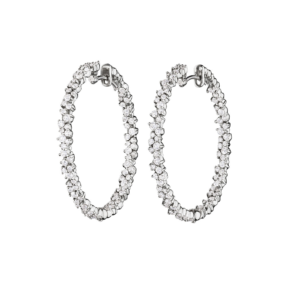 "Medium 18k White Gold & Diamond ""Confetti"" Hoop Earrings"