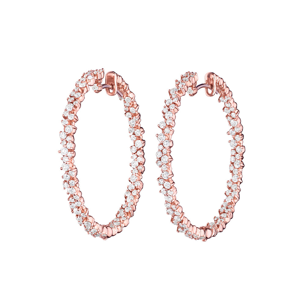 "Medium 18k Pink Gold & Diamond ""Confetti"" Hoop Earrings"