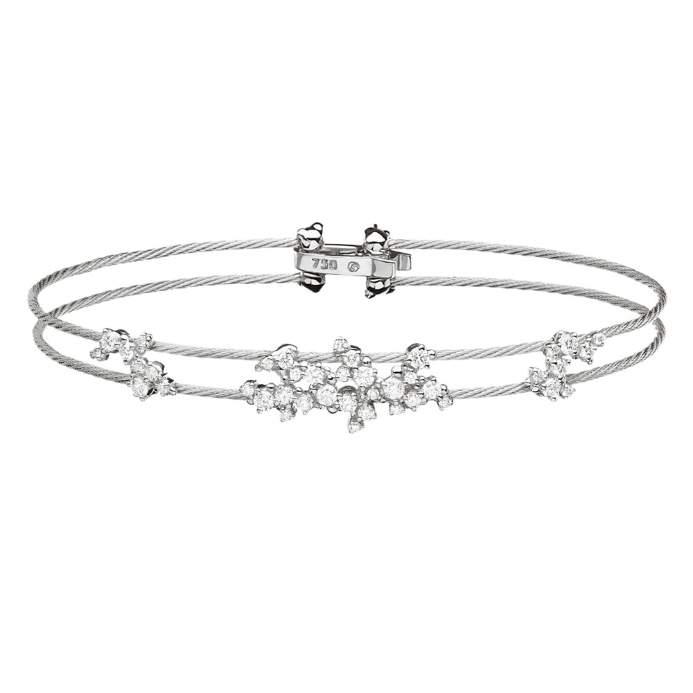 "18k White Gold & Diamond ""Confetti"" Wire Bracelet"