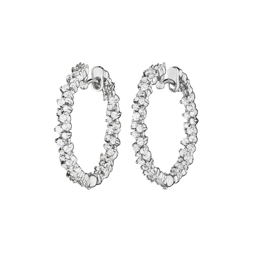 "Small 18k White Gold & Diamond ""Confetti"" Hoop Earrings"