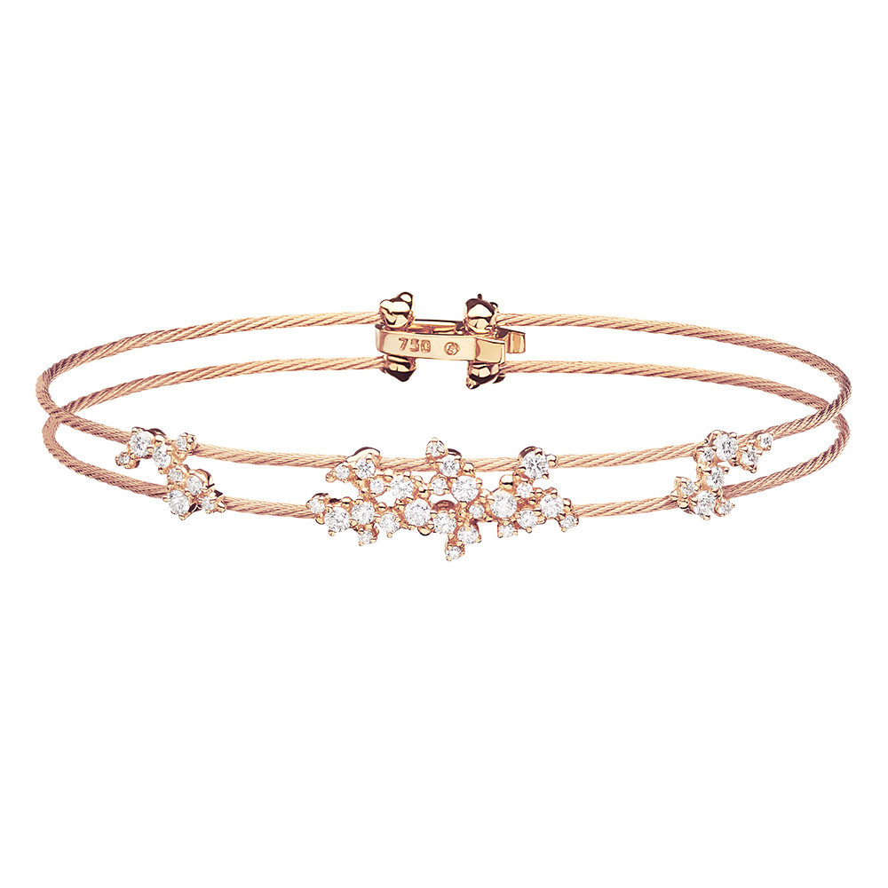 "18k Rose Gold & Diamond ""Confetti"" Wire Bracelet"