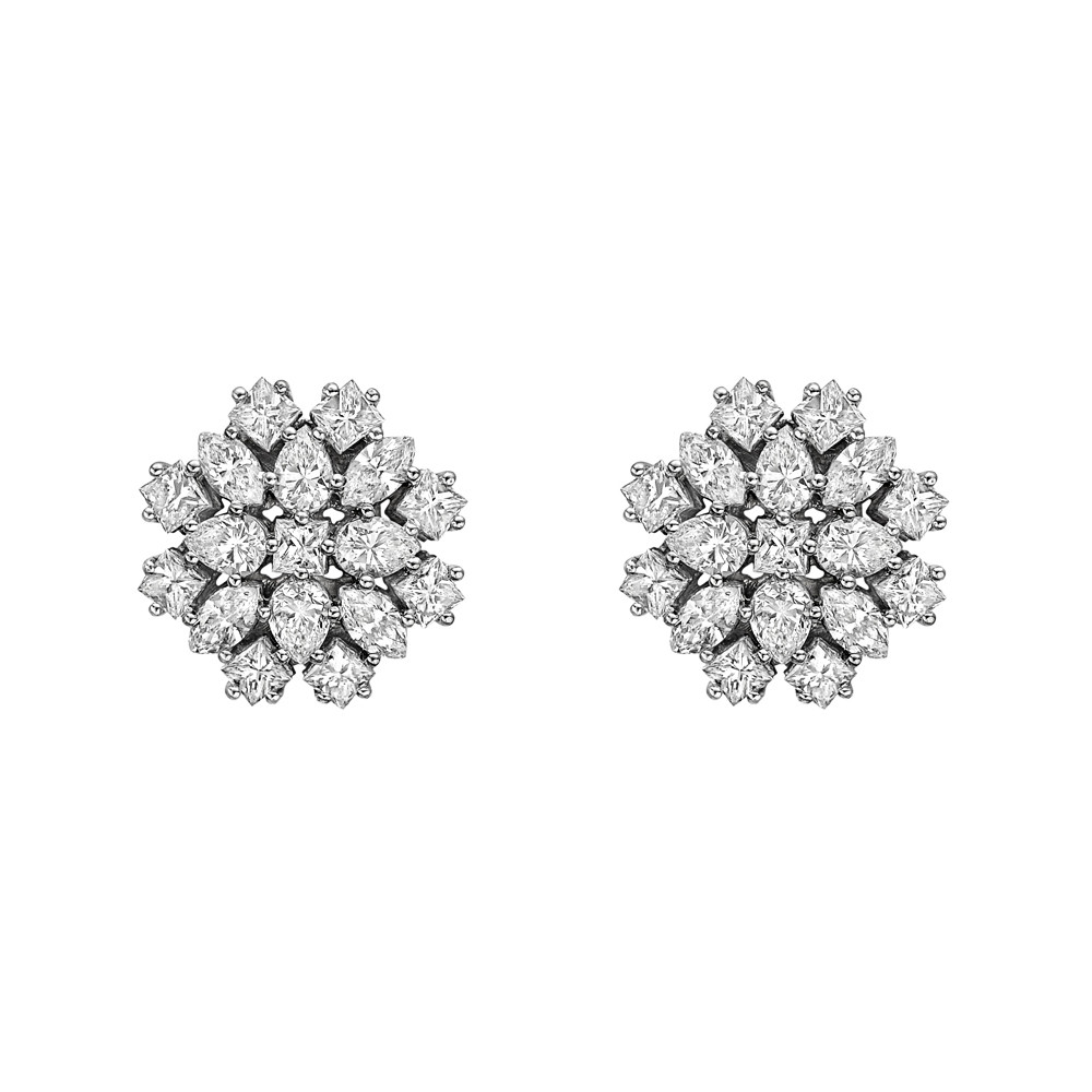 Mixed-Cut Diamond Cluster Stud Earrings