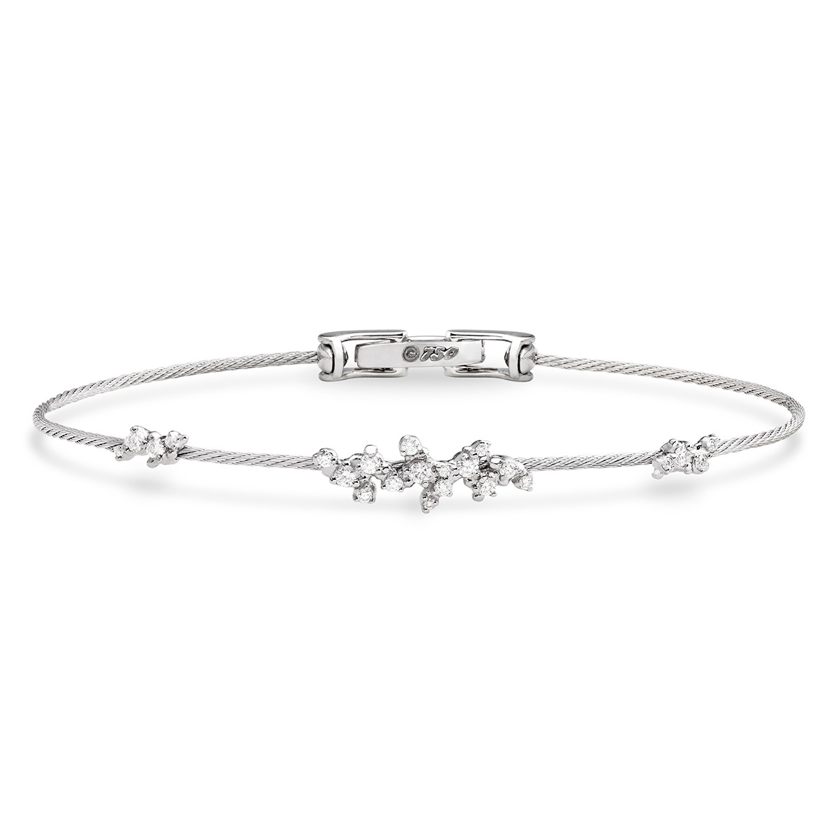 "18k White Gold & Diamond Single Wire ""Confetti"" Bangle Bracelet"