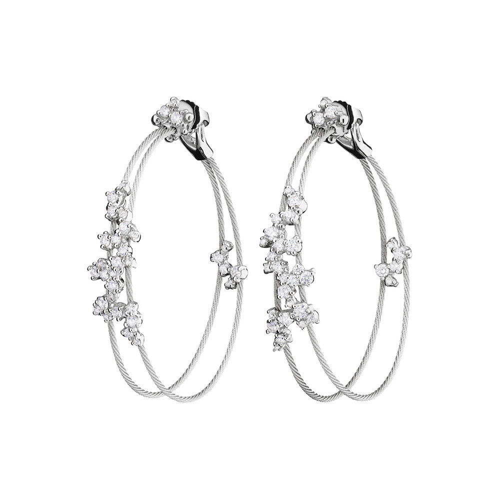 "18k White Gold & Diamond ""Confetti"" Double Hoops"