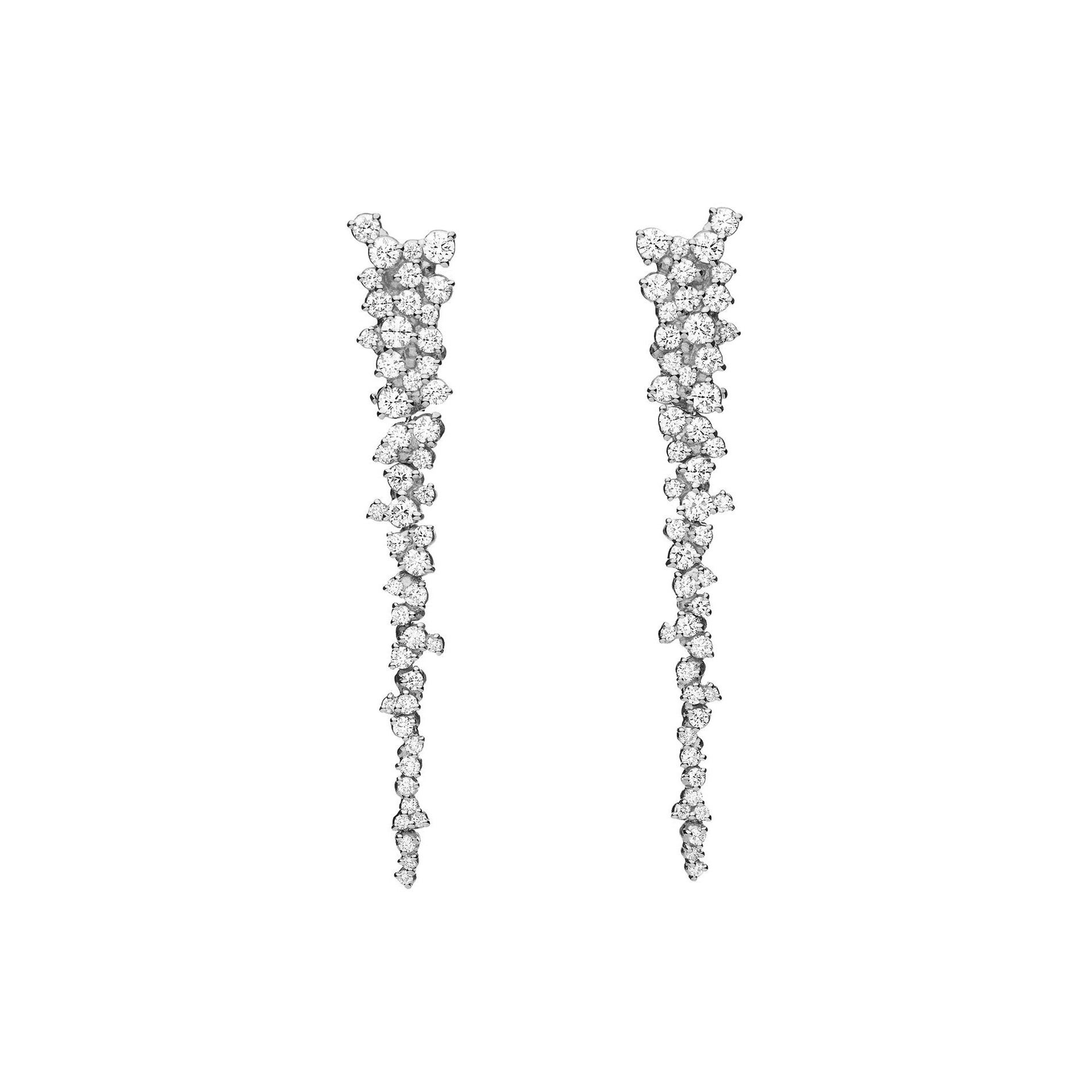 "18k White Gold & Diamond ""Confetti"" Drop Earrings"