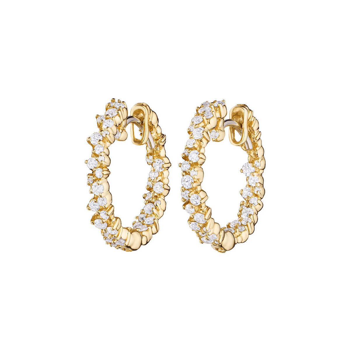 "Extra Small 18k Yellow Gold & Diamond ""Confetti"" Hoop Earrings"