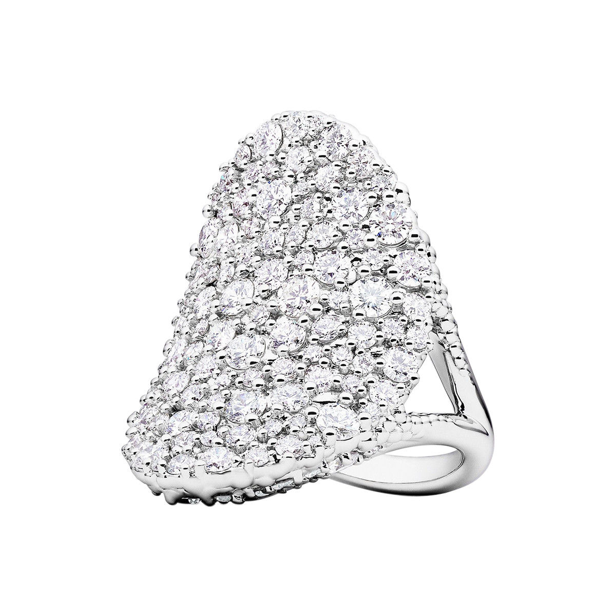 "18k White Gold & Diamond ""Confetti"" Saddle Ring"