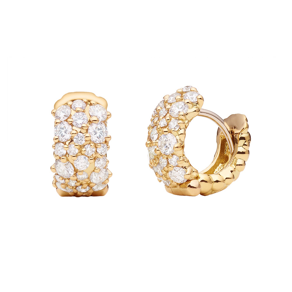 "Small 18k Yellow Gold & Diamond ""Confetti"" Hoops"