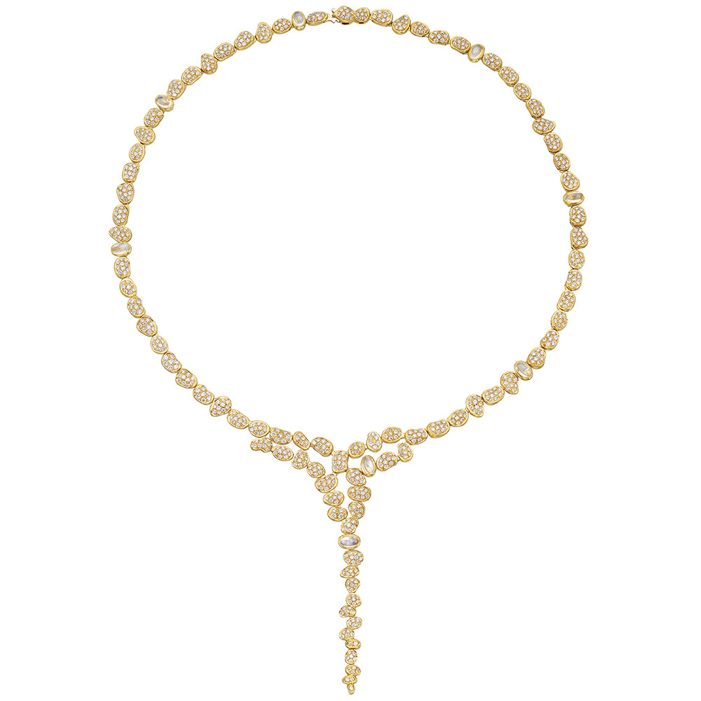 "18k Yellow Gold & Diamond ""Pebble"" Waterfall Necklace"