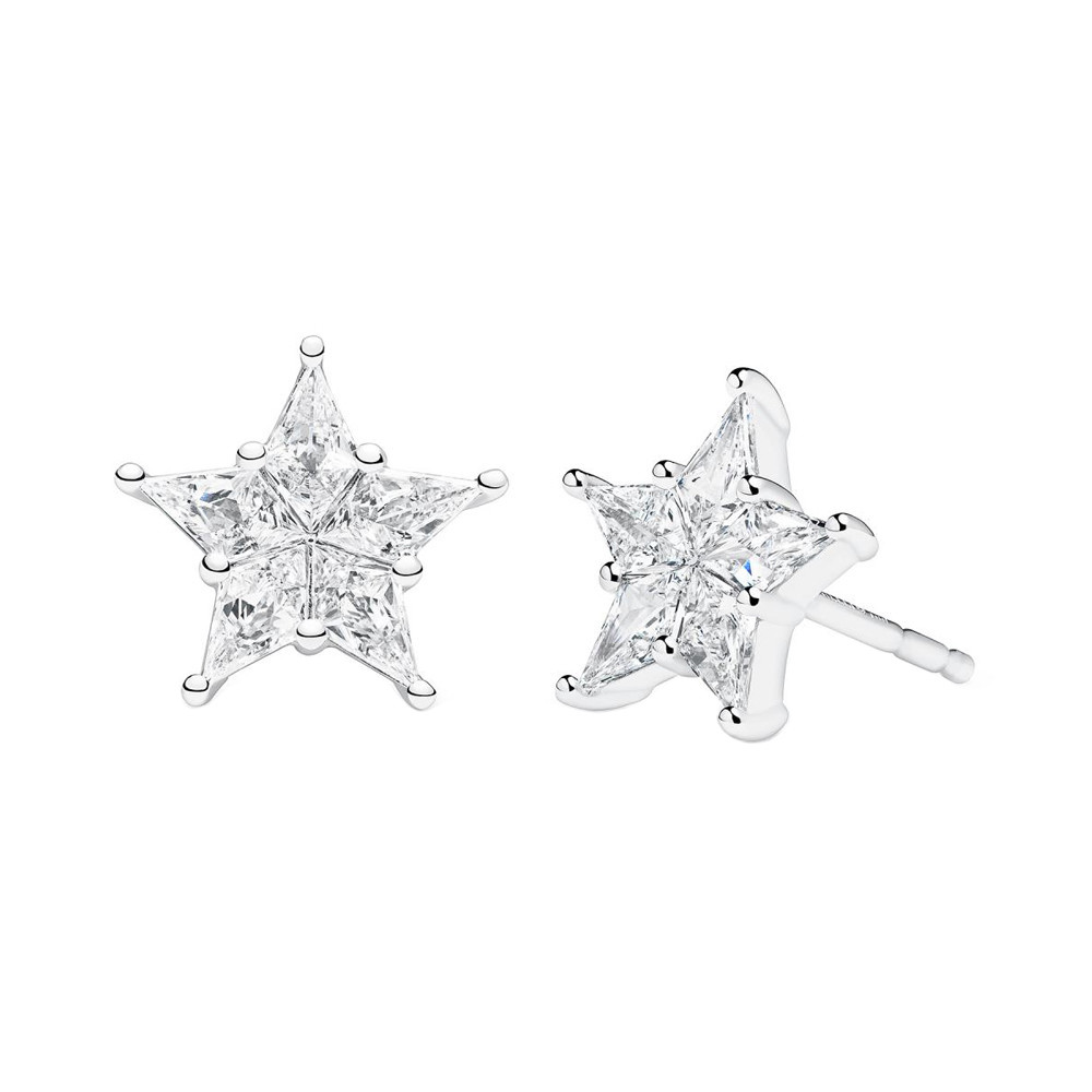 "Small 18k White Gold & Diamond ""Starlet"" Earrings"