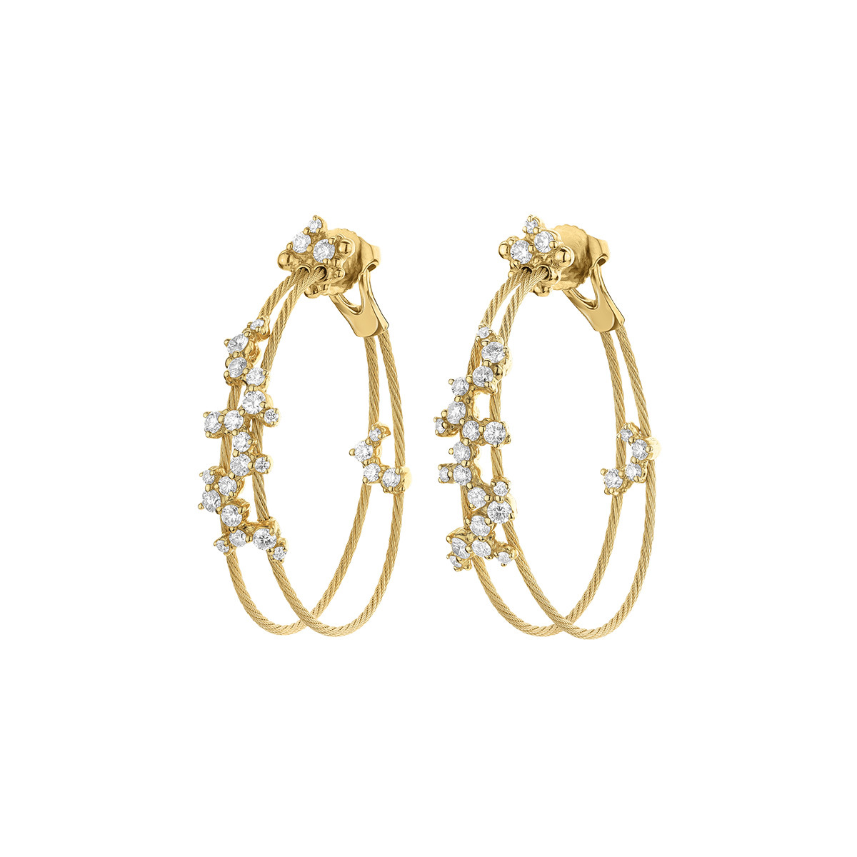 "18k Yellow Gold & Diamond Small ""Confetti"" Double Hoops"