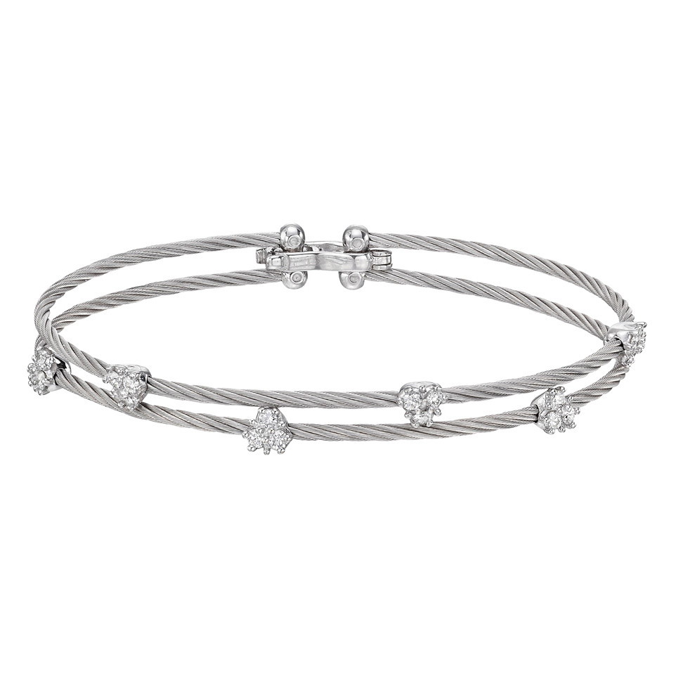 "18k White Gold & Diamond Cluster ""Wire"" Double Bracelet"