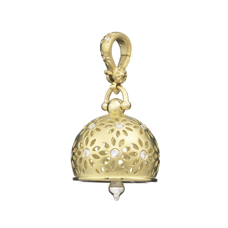 "Large 18k Gold & Diamond ""Eyelet"" Meditation Bell"