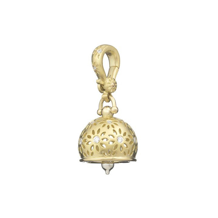 "Small 18k Gold & Diamond ""Eyelet"" Meditation Bell"