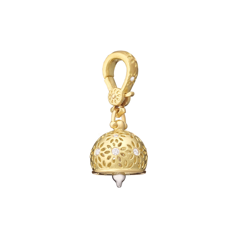 "Extra Small 18k Gold & Diamond ""Eyelet"" Meditation Bell"