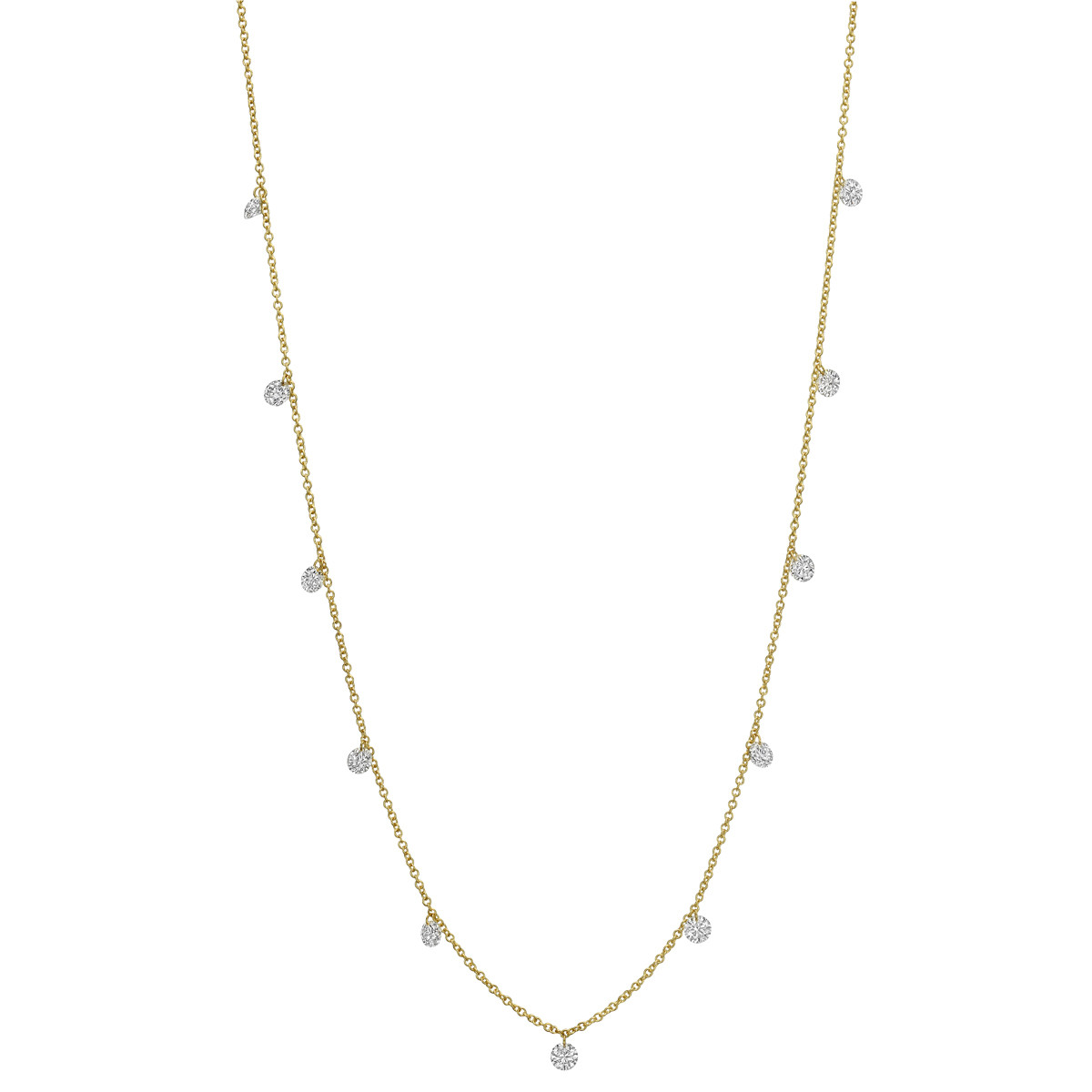 18k Yellow Gold 'Floating' Diamond Necklace