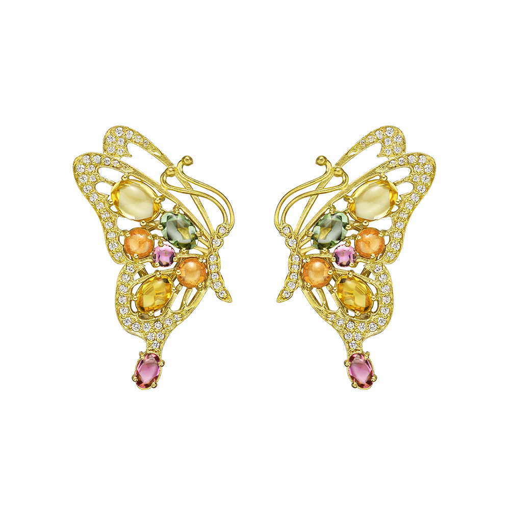 18k Gold & Gem-Set Butterfly Earrings
