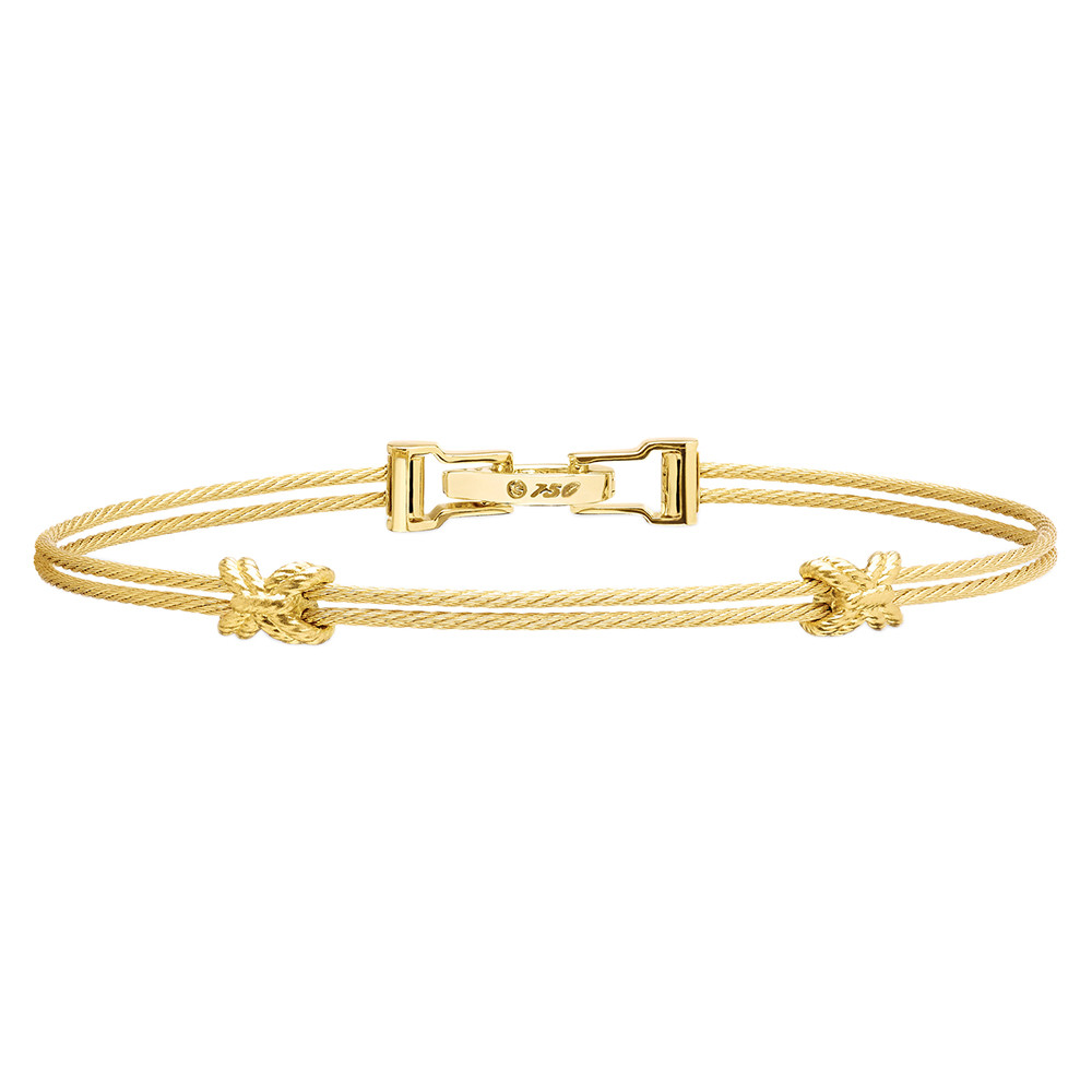 "18k Yellow Gold ""Unity"" Criss Cross Double Bracelet"