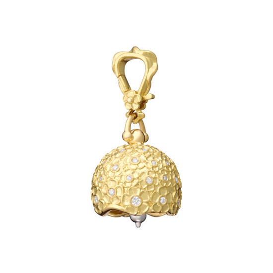 "Medium 18k Gold & Diamond ""Hydrangea"" Meditation Bell"