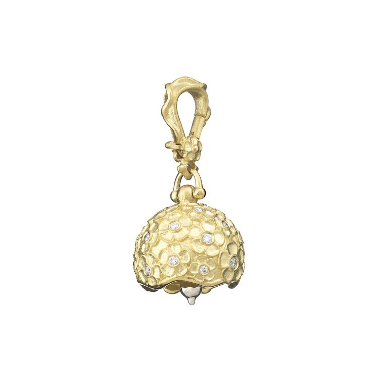 "Small 18k Gold & Diamond ""Hydrangea"" Meditation Bell"