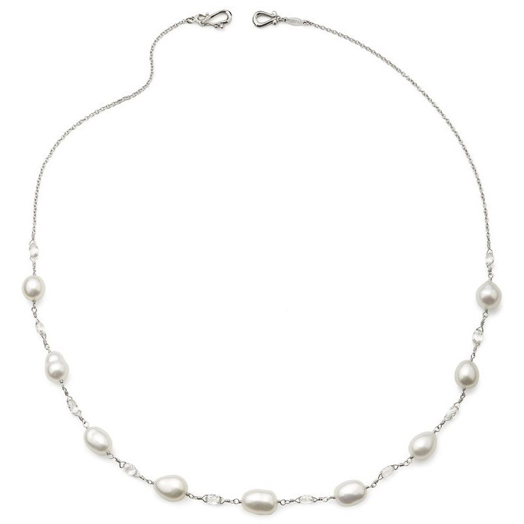 "Keshi Pearl & Diamond Briolette ""Stone Chain"" Necklace"