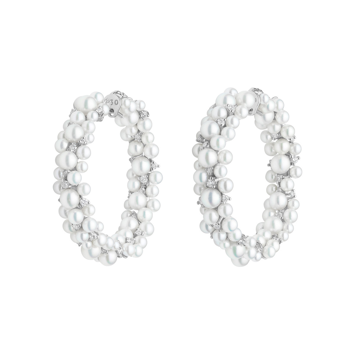 "Pearl & Diamond ""Lagrange"" Hoop Earrings"