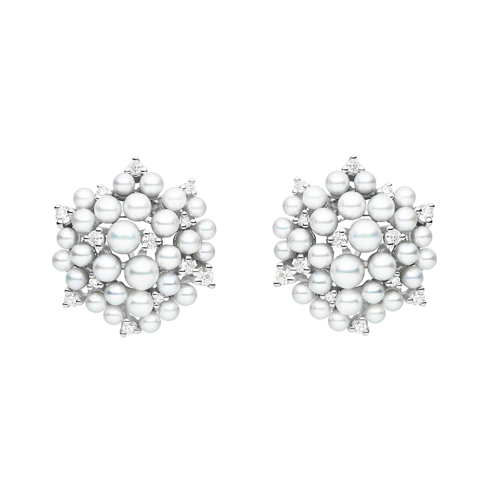 "Pearl & Diamond ""Lagrange"" Stud Earrings"