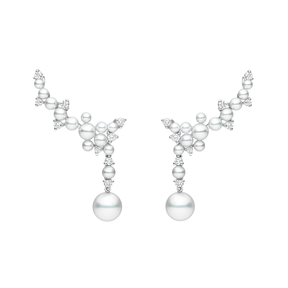 "Large Pearl & Diamond ""Lagrange"" Trellis Drop Earrings"