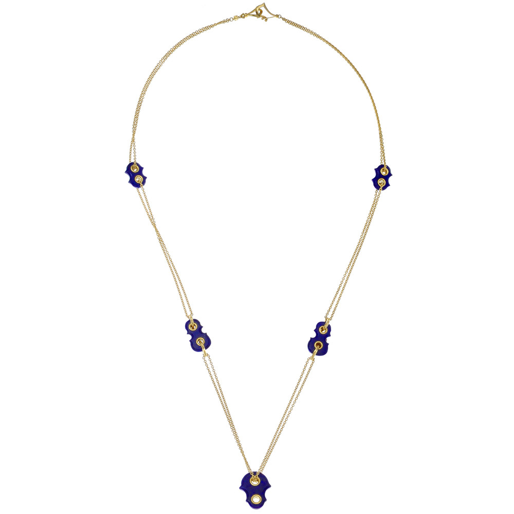 18k Yellow Gold Silhouette Chain Necklace with Lapis