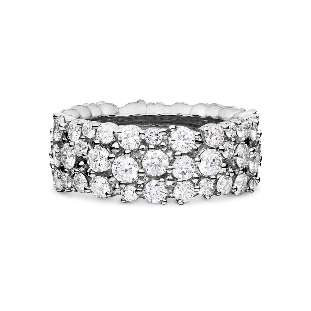 "Large 18k White Gold & Diamond ""Confetti"" Band Ring"