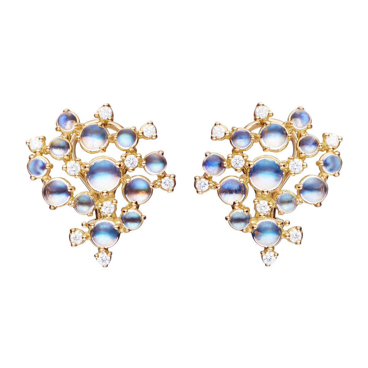 "Moonstone & Diamond ""Bubble Cluster"" Earrings"