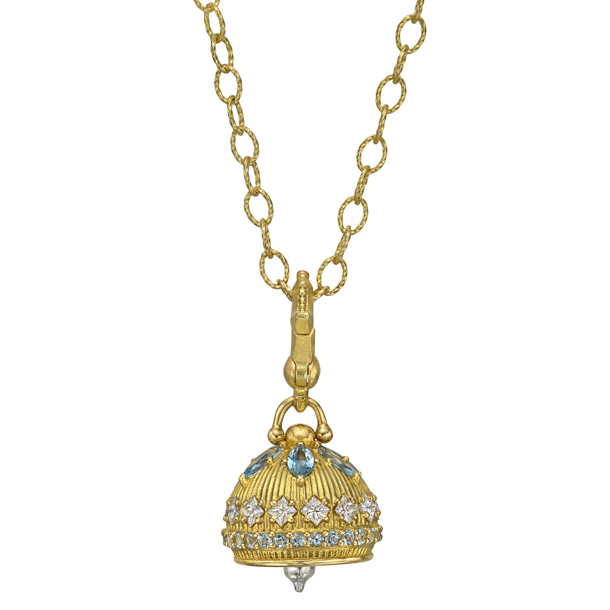 18k Yellow Gold, Aquamarine & Diamond Meditation Bell