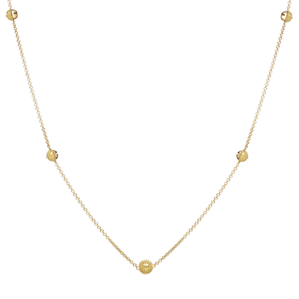 Extra Small 18k Gold Meditation Bell Chain Necklace