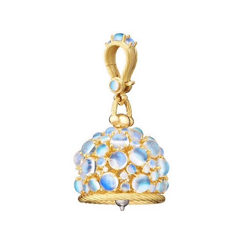 Large 18k Gold, Moonstone & Diamond Meditation Bell