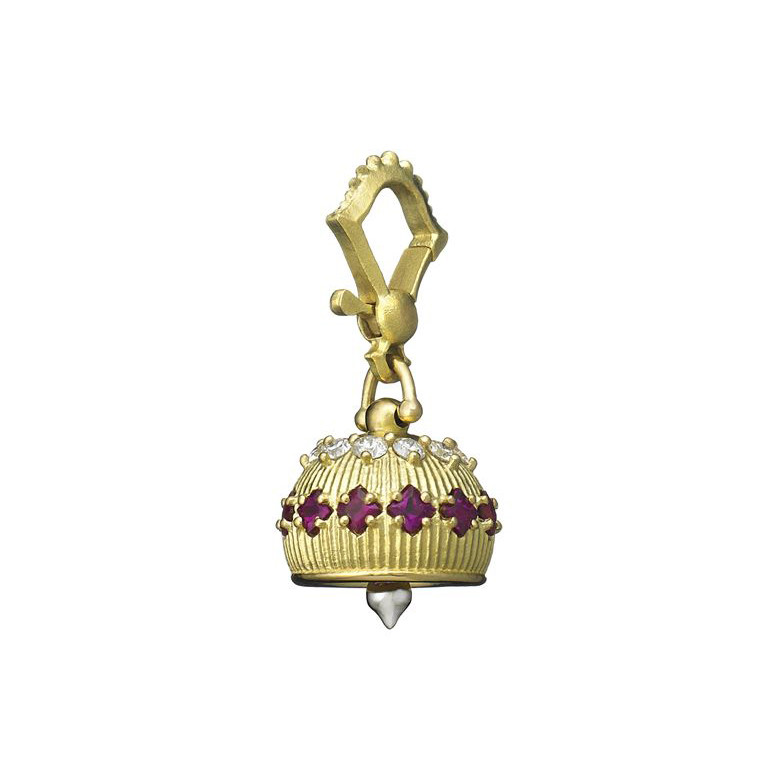 Extra Small 18k Gold, Ruby & Diamond Meditation Bell