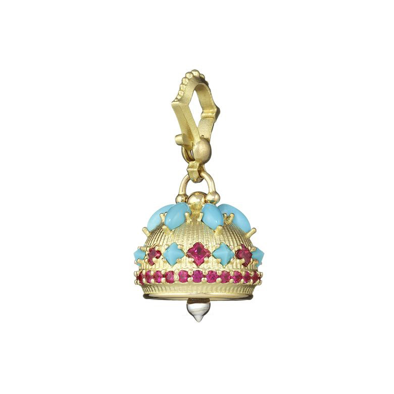 Small 18k Gold, Turquoise & Ruby Meditation Bell