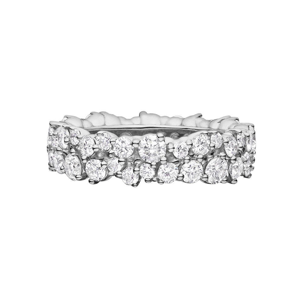 "Medium 18k White Gold & Diamond ""Confetti"" Band Ring"