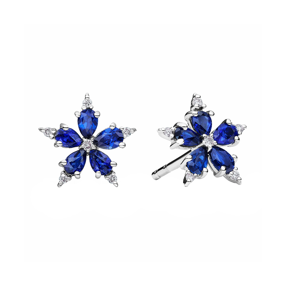"Mini Sapphire & Diamond ""Stellanise"" Stud Earrings"