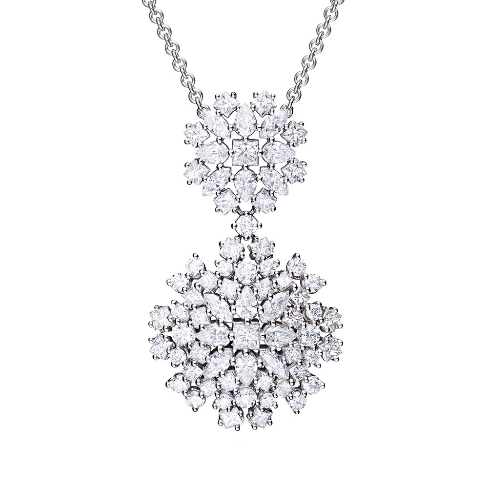 Mixed-Cut Diamond Cluster Pendant Necklace
