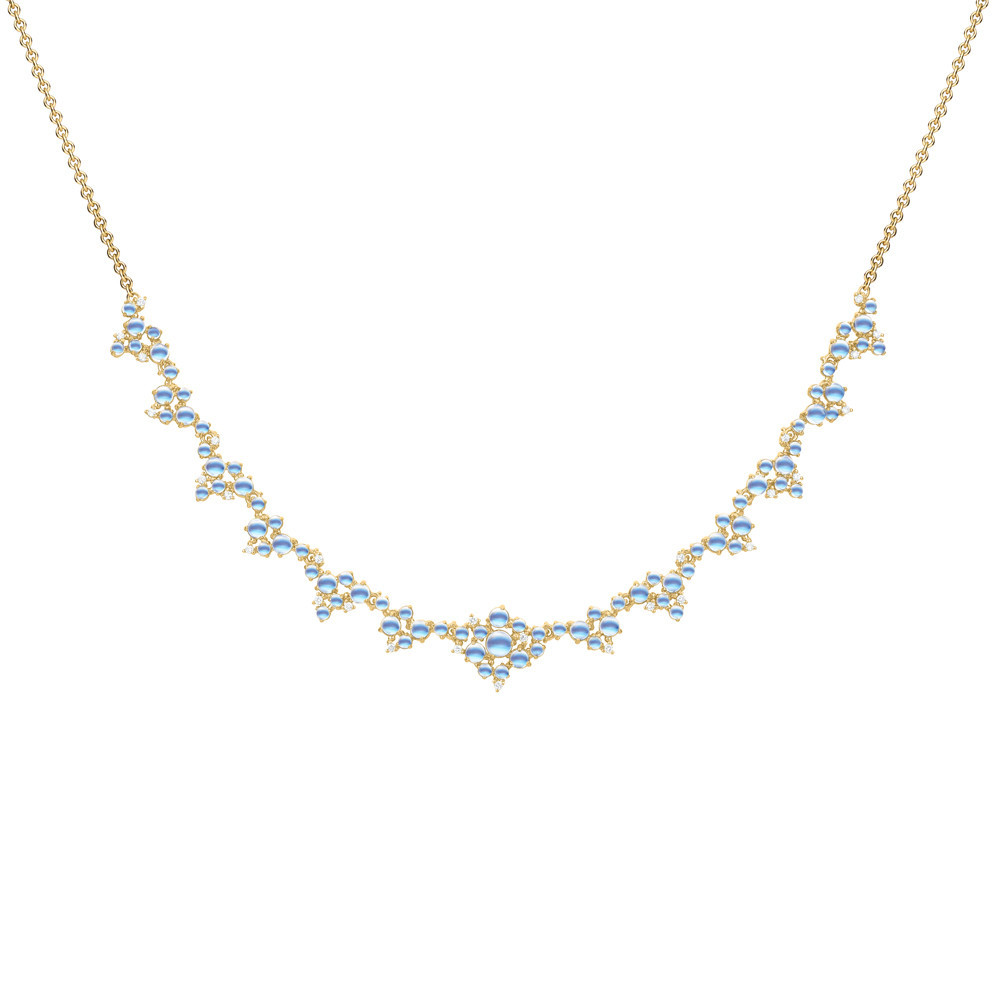 "Moonstone & Diamond ""Bubble Cluster"" Necklace"
