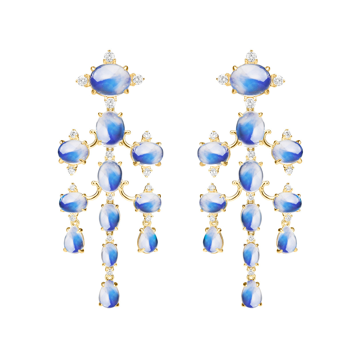 Moonstone & Diamond Chandelier Earrings