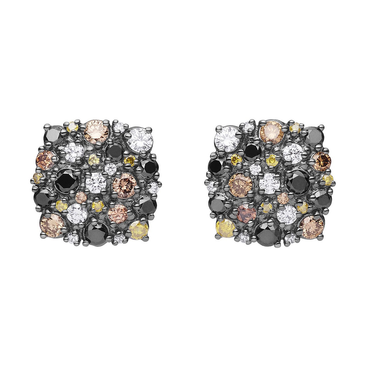 "Multicolored Diamond ""Confetti"" Cushion Stud Earrings"