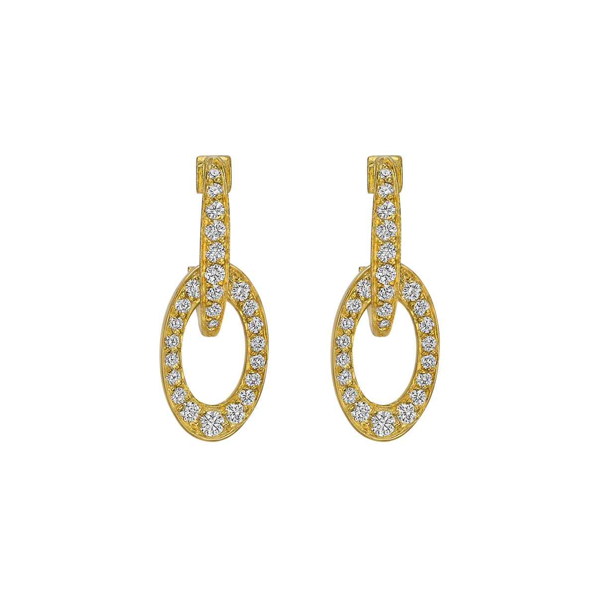 18k Yellow Gold & Diamond Oval Drop Earrings