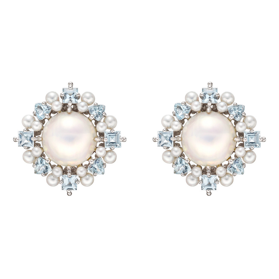 Pearl & Aquamarine Cluster Earrings