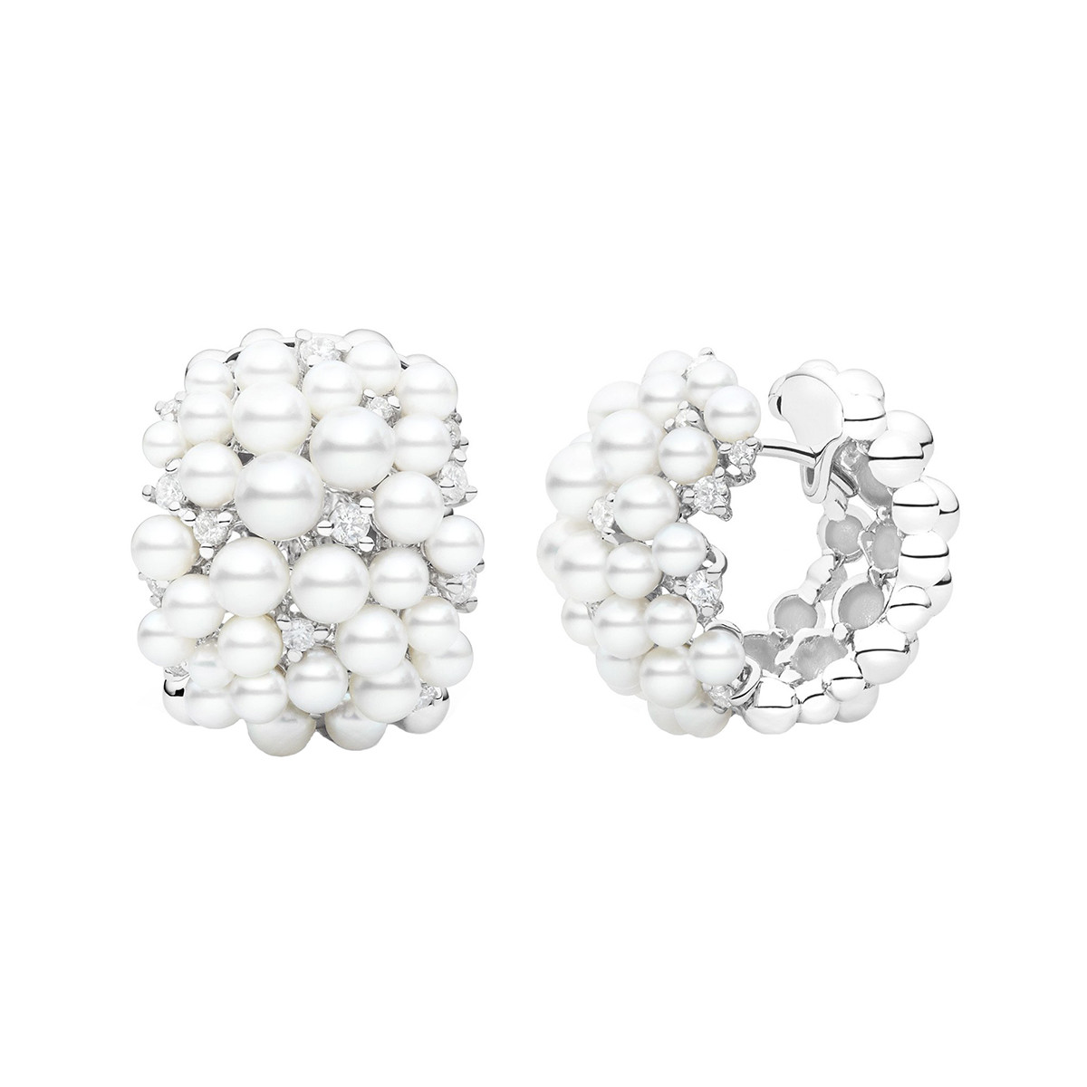 "Pearl & Diamond ""Lagrange"" Snap Hoops"