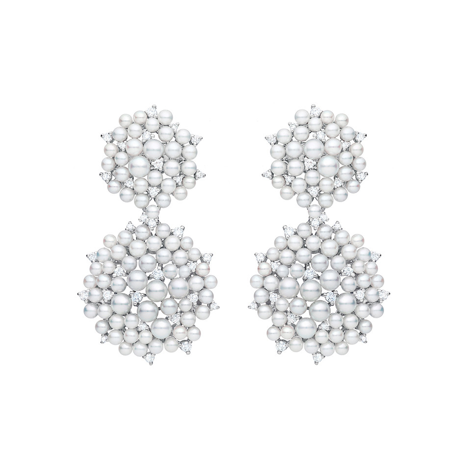 "Pearl & Diamond ""Lagrange"" Double Dangle Earrings"