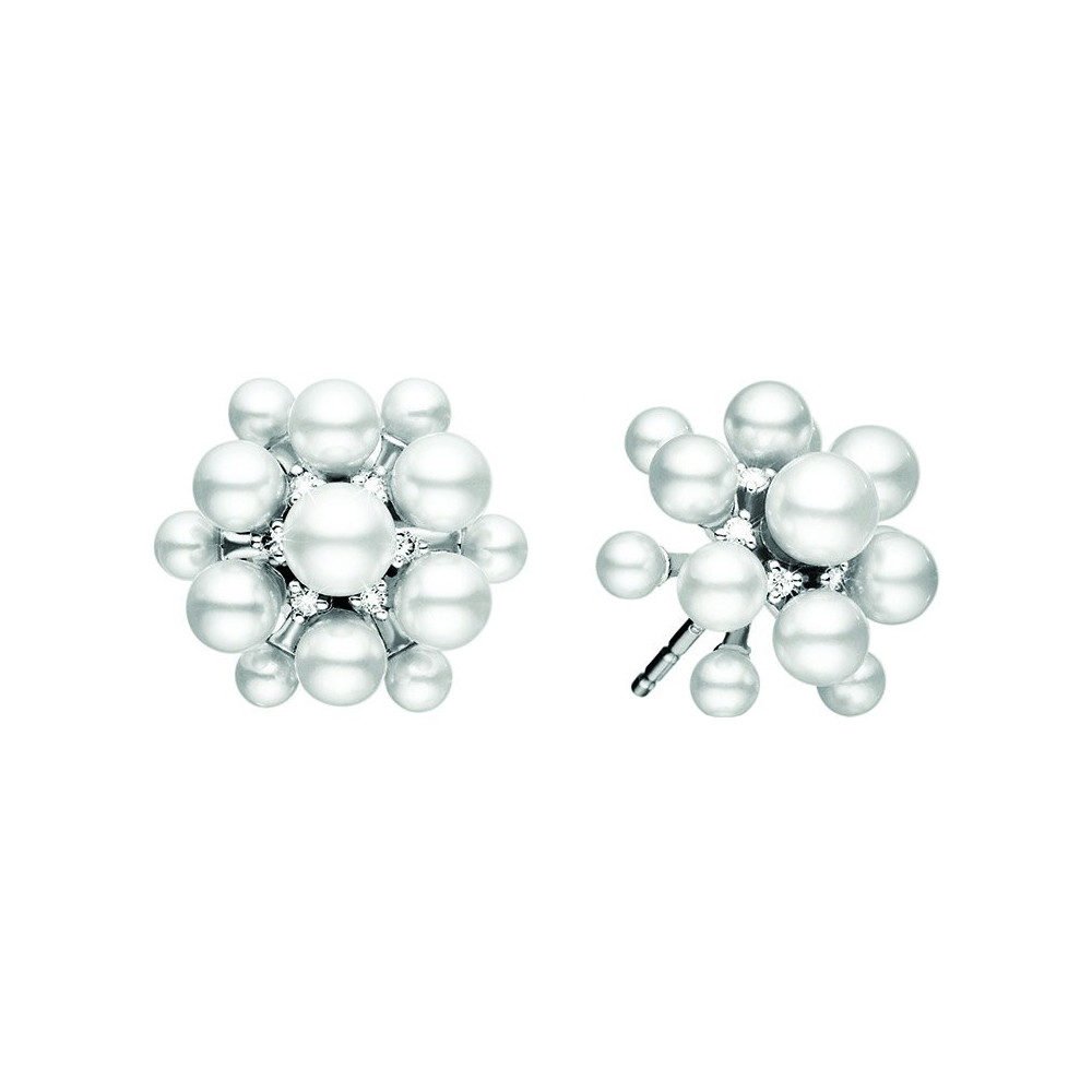 "18k White Gold, Pearl & Diamond ""Orbit"" Earrings"