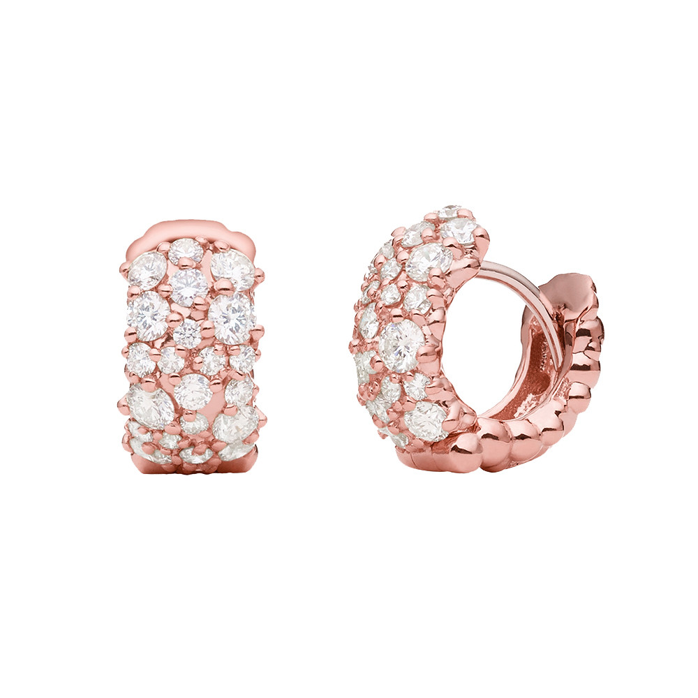 "Small 18k Pink Gold & Diamond ""Confetti"" Snap Hoops"