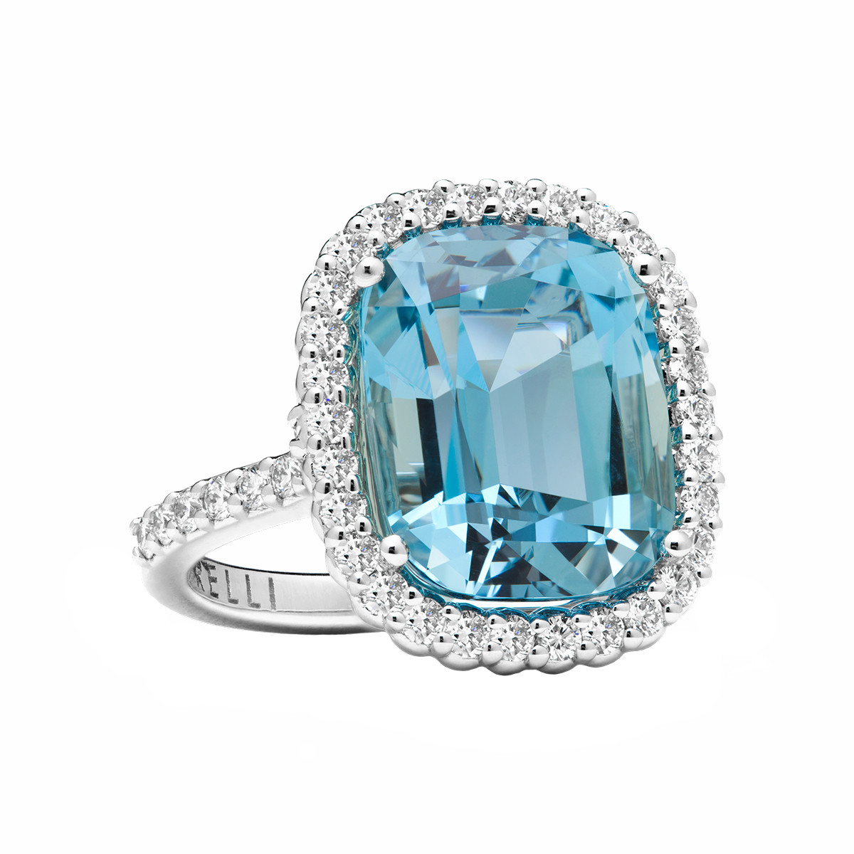 "8.01ct Aquamarine & Diamond ""Pinpoint"" Ring"